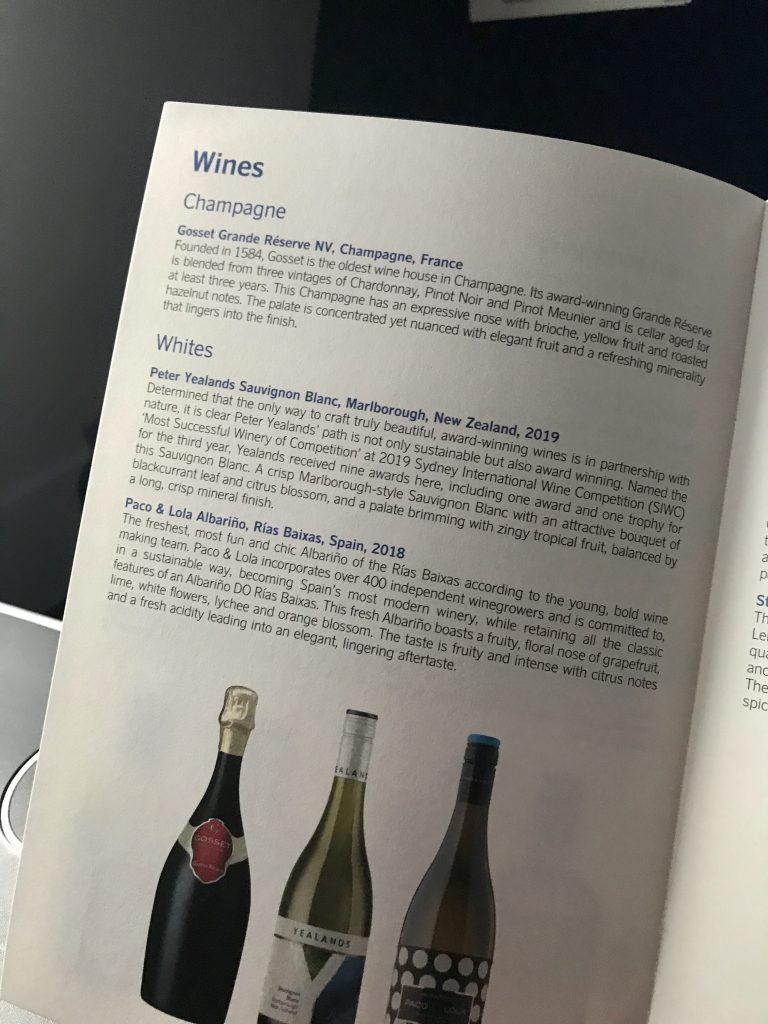 SAS Business Class Meny Vintern 2019