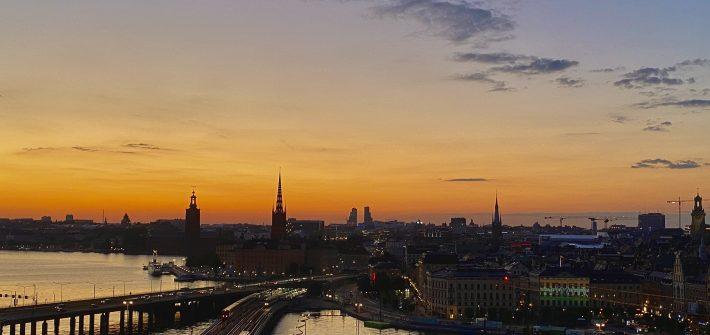 Solnedgång över Stockholm från Katarinahissen